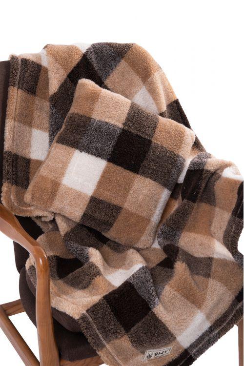 Комплект подушка+плед меховой  клетка КЕМЕЛ
