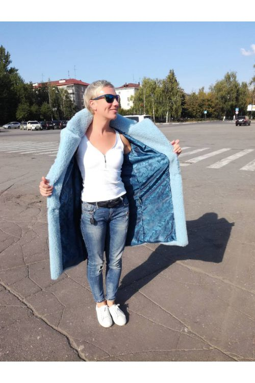 ЭКОШУБКА CLASSIC 100см ГОЛУБОЙ - SALE