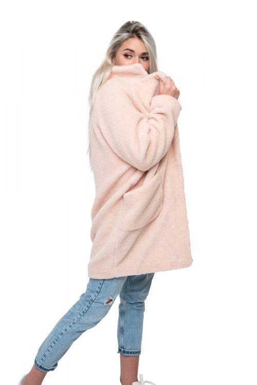 Пальто стильное из овечьей шерсти THE BARREL, цвет Пудра, цвет ТЕЛЕСНЫЙ