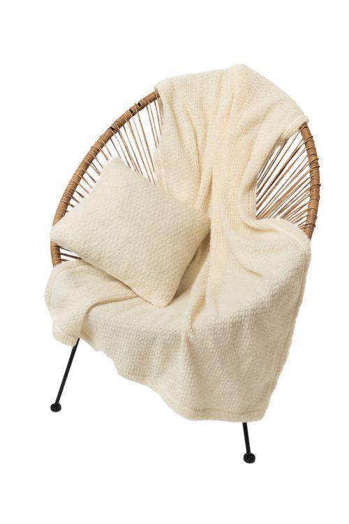 Комплект подушка+плед БУКЛЕ цвет ваниль