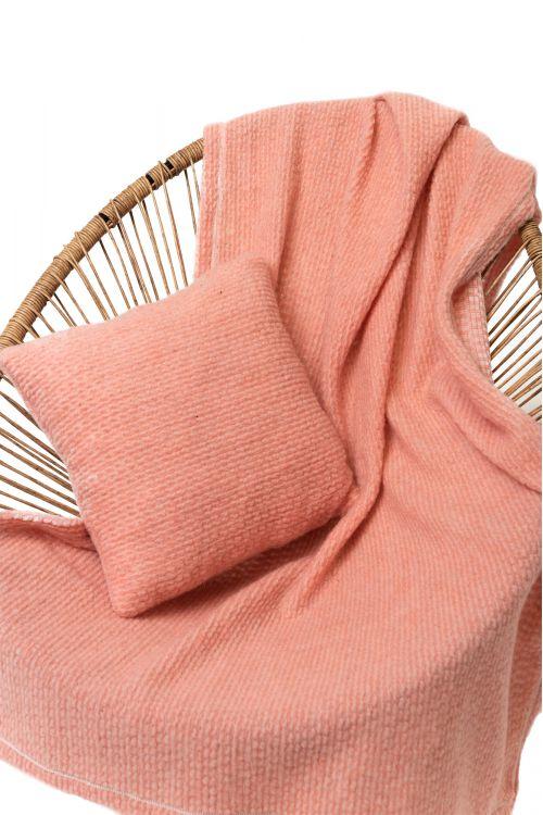 Комплект подушка+плед БУКЛЕ цвет Лосось