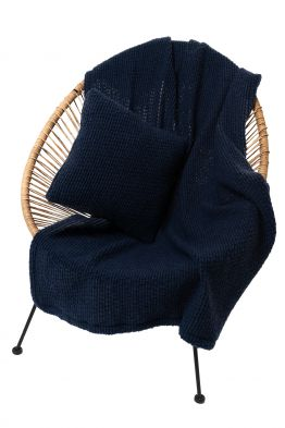 Комплект подушка+плед БУКЛЕ цвет Индиго