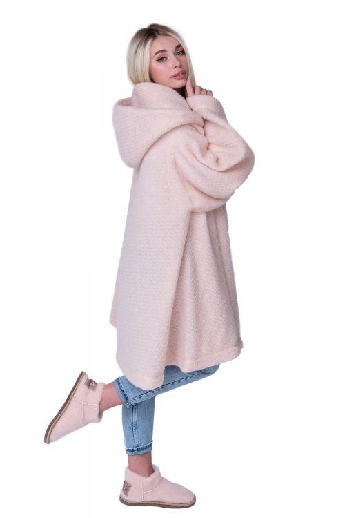 Пончо стильное из овечьей шерсти с капюшоном WITH HOOD CAMEL, цвет Пудра, цвет ТЕЛЕСНЫЙ