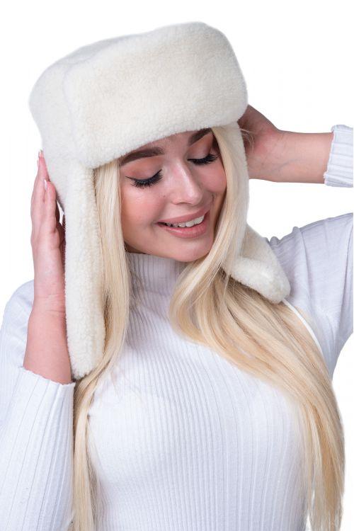 Шапка ушанка меховая цвет Ваниль