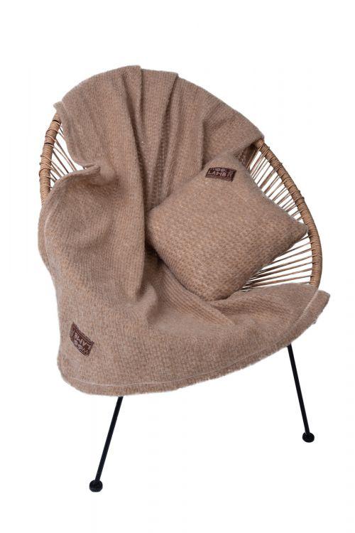 Комплект подушка+плед БУКЛЕ CAMEL цвет Кемел