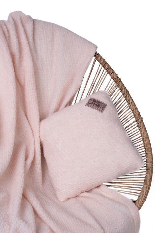 Комплект подушка+плед БУКЛЕ цвет ПУДРА